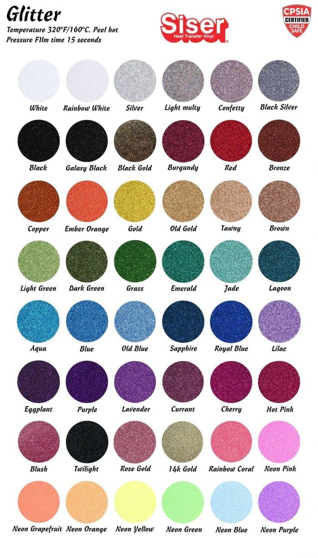Siser Glitter HTV Color Chart 2021